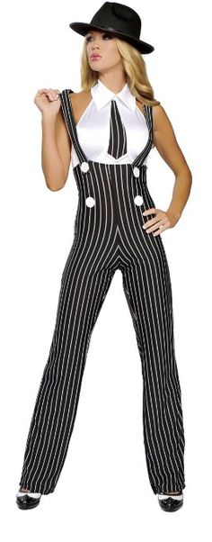 Amazon.com: Roma Costume 2 Piece Gangsta Mama As Shown, Black/White, Medium/Large: Clothing