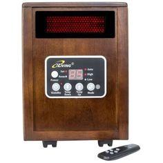 Infrared Space Heater 1500W With Remote W/ Dark Walnut Wood Cabinet