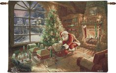 Thomas Kinkade Santa's Special Delivery Wall Tapestry. Christmas holiday home decor for your walls.