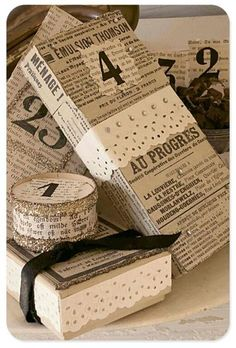 newsprint... jewels...silver tinsel....all great inspiration to use All is Bright for not only Christmas Scrapbooking, but Christmas wrapping!