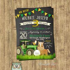 John Deere Inspired Tractor Birthday von MoonlightOwlDesigns