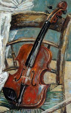 Aceite de Bodegón pintura Original 'violín en silla'.