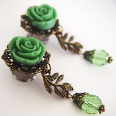 Glamsquared — 12.7mm 1/2 inch Roses on the Vine Steel Dangle Plugs