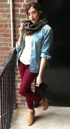 dark red jeans, open chambray shirt, pattern scarf = fall