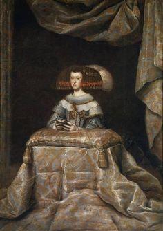 Diego Rodríguez de Silva y Velázquez (Workshop). Mariana de Austria, reina de España, orante, 1655