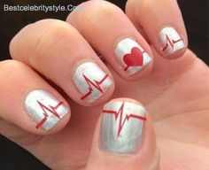11 Funky and Sweet Heartbeat Nail Design Ideas - http://bestcelebritystyle.com/11-funky-and-sweet-heartbeat-nail-design-ideas/