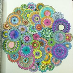 Jardim secreto meus trabalhos - secret garden my works Mandala Coloring, Colouring Pages, Adult Coloring Pages, Coloring Books, Colouring Pencils, Flower Circle, Flower Mandala, Mandala Art, Zen Colors