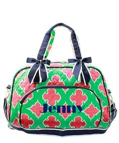 "Personalized Moroccan Diamond Mint Coral Navy 18"" Quilted Duffle Tote Bag - Gifts Happen Here - 1"