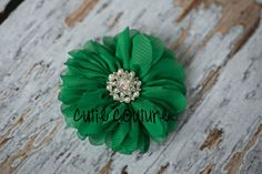 Headband, Baby Clip, Green Chiffon Flower with Pearl and Rhinestone Center, Perfect for Photo Props