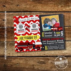 Firemen birthday invitation firefighter party combined twins fireman chalkboard red chevron photo invite digital printable invitation 13511 by myooakboutique on Etsy