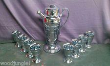 Vintage ART DECO MARTINI COCKTAIL SHAKER MIXER BAR Antique CORDIAL CUPS chrome
