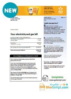 United Kingdom EDF utility bill template in Word format
