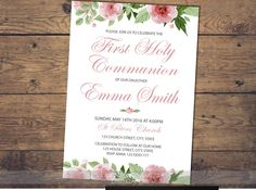 invitacion primera comunion chica, first holy communion invitation girl, imprimible, invitation printable, pink, floral invitation by LaminitasPrintables on Etsy