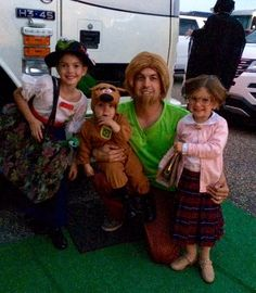 The Hornish family in their Halloween costumes; Addison (Mary Poppins), Eliza (Mrs. Doubtfire), Sam (Shaggy), and Sammy (Scooby)!
