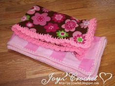 Fleece Baby Blankets with Crocheted Edge