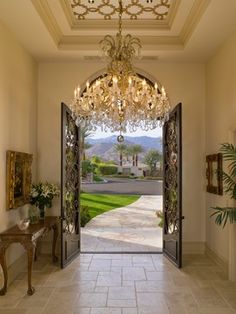 I love the chandelier...Old World Luxe - Mediterranean - Entry - Los Angeles - SoCal Contractor
