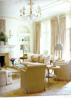 Gilded Duke Coffee Table by Charles Fradin. This serene room is  the height of elegance and refinement. Deigned by Suzane Kasler