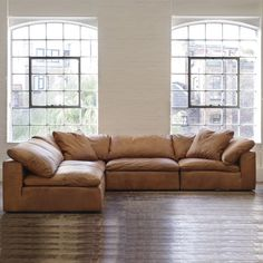 Buy Andrew Martin Truman Sectional Sofa Tan Leather online with Houseology's Price Promise. Full Andrew Martin collection with UK & International shipping. Tan Leather Sectional, Faux Leather Couch, Large Sectional Sofa, Modern Sectional, Living Room Sectional, Brown Leather, Leather Fabric, Leather Sectionals, Leather Cushions