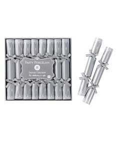 Look what I found on #zulily! Party Porcelain Silver Saucer Crackers - Set of 16 #zulilyfinds