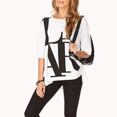 """LIAR Split Tee This has only been worn once. Graphic tees can be paired with jeans/leggings and even skirts!  Sizing/Info:  •Shoulder: 19.5"""" •Chest (armpit to armpit): 24"""" •Length: front: 23"""" back: 26"""" •Material: 53% cotton & 47% modal •Fit: this is mean to fit loose •Condition: brand new, only worn once! (No filters used on my photos, but color may vary slightly)   ❌ No trades/No Paypal/No Holds❌ ✅ Bundle Of 3+ Gets 20% Off ✅ ✅ Ships FAST ✅ Forever 21 Tops Tees - Short Sleeve"""