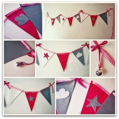 Banderines de fieltro http://es.dawanda.com/product/47702402-Guirnalda-de-banderines