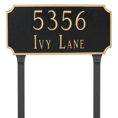 Montague Metal Princeton Standard Two Line Address Sign Lawn Plaque - PCS-0028S2-L-WG