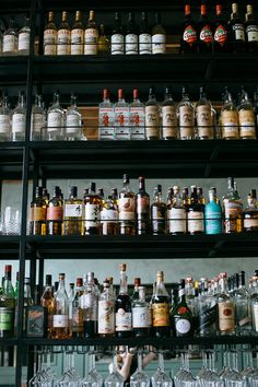 alcohol on shelves at cafe birdie in l.a.  / sfgirlbybay