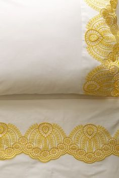 "Yellow eyelet embroidered sheet set // My Grandmother would sew lace onto our pillowcases and sheets to ""dress up"" our beds. Belle Lingerie, Bohemian Bedding, King Sheets, Textiles, Linen Bedding, Bedding Sets, Bed Linens, Sheets Bedding, Ideas"
