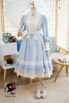 Fantastic Wind -The Little Shepherd Girl- Classic Vintage Lolita OP Dress,Lolita Dresses, Harajuku Fashion, Kawaii Fashion, Lolita Fashion, Cute Fashion, Rock Fashion, Fashion Boots, Vestidos Vintage, Vintage Dresses, Vintage Outfits