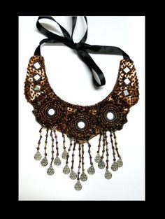Brown bronze bib collar necklace by AniDandelion