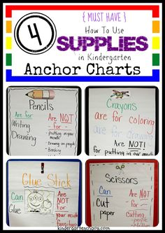 How To Use Kindergarten Supplies Anchor Charts
