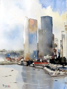 Chan Chang How Watercolor City, Painting, Painting Art, Paintings, Paint, Draw