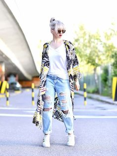 kimono with boyfriend jeans with white runners, but also great with boots. Great style and fashion sense.