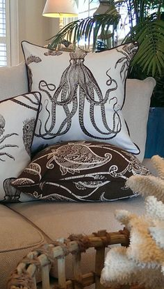 - Hamptons Sealife - Coastal Pillows-Beach Pillows