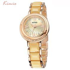 12.99$  Watch now - http://alio5a.shopchina.info/go.php?t=32389728763 - KIMIO Crystal Diamonds Imitation Ceramic Rose Gold Quartz Watches Women New Fashion Brand Luxury Wrist Watches For Women relojes 12.99$ #magazineonline