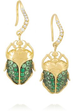 Aurélie Bidermann Fine Jewelry|18-karat gold, tsavorite and diamond beetle earrings