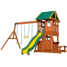 The Oakmont Play Centre is one of our most popular swing sets for kids featuring both an upper fort covered by a colorful canopy and a lower play fort with slide, 2 belt swings and a trapeze swing.  Play Now, Pay Later with #Afterpay #humm #zip and #Laybuy