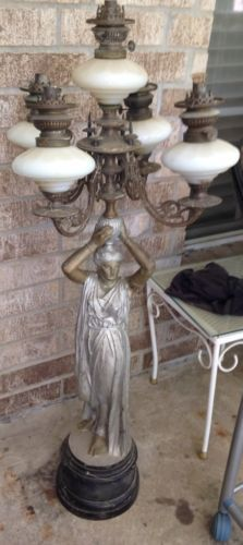 Gorgeous French Art Nouveau Woman Holding Oil Lamps   eBay