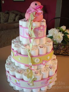 How to Make a Diaper Cake | susiestampalot: How to Make a Diaper Cake