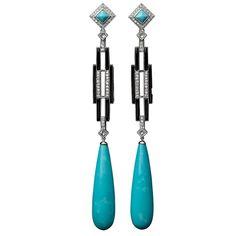 Tear Drop Turquoise Black Onyx Diamond Earrings | From a unique collection of vintage drop earrings at https://www.1stdibs.com/jewelry/earrings/drop-earrings/