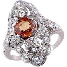 Edwardian/Art Deco 2.61ct Orange Sapphire and Old Euro Diamond Engagement Anniversary Platinum Ring