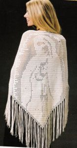 Blessed Mother Prayer Shawl, a free pattern, available in the Talking Crochet Newsletter. Always a favorite.