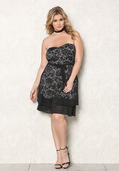 Plus Size | Plus Size Strapless Floral Embroidered Dress | Debshops