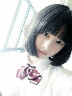 微博 Cute Asian Girls, Sweet Girls, Cute Girls, Cute Japanese Girl, Japanese School, Innocent Girl, Japan Girl, Cosplay, Beautiful Asian Women