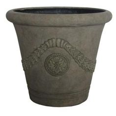 MPG, 22 in. D Aged Granite Cast Stone Osmosis Planter, PF4425AG at The Home Depot (prefer the aged limestone color)