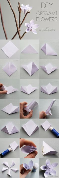 DIY Origami Flower Step-by-Step Tutorial | paper craft how to | lots of these in pretty pastel colors would be wonderful for party decorations | HungryHeart.se