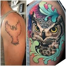 """""""This old phoenix was reborn into an owl!✨ Before and after cover up tattoo I made yesterday at For tattoo appointments, email at:…"""" Tattoo Henna, Gold Tattoo, Owl Tattoo Design, Tattoo Designs, Cover Up Tattoos Before And After, Colorful Owl Tattoo, Wrist Tattoo Cover Up, Watercolour Tattoos, Best Tattoo Ever"""