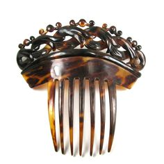 """A Large RARE Victorian Genuine Tortoise Shell Hair Comb Circa via Etsy. This is a carved example surmounted by small """"balls"""" Victorian Hairstyles, Vintage Hairstyles, Victorian Jewelry, Antique Jewelry, Tortoise Shell Hair, Hair Jewels, Hair Jewellery, Vintage Hair Combs, Barrettes"""