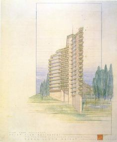 Frank Lloyd Wright did a second rendering of the Point View Residences project…