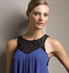 wonder if I could DIY this whole shirt with a jersey knit pillow case? Col Crochet, Crochet Fabric, Crochet Collar, Crochet Girls, Crochet Blouse, Free Crochet, Crochet Patterns, Blue Silk Dress, Knit Pillow